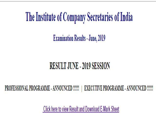 ICSI Executive and Professional Examination Result June 2019