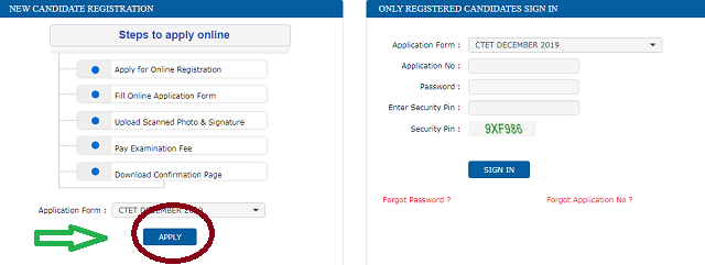 CTET Online Application Form 2019 2