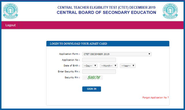 CTET Admit Card 2019 Download Link