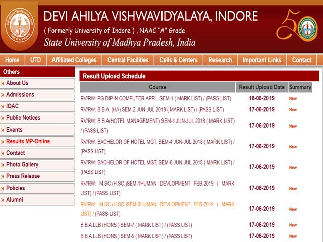 DAVV Results 2019 Declared for M Ed, M Com and B Sc Courses