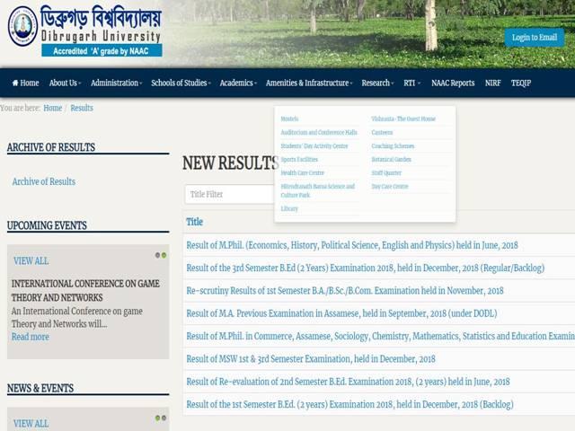 Dibrugarh University Results 2019 Soon