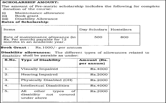 Scholarship for disabled students