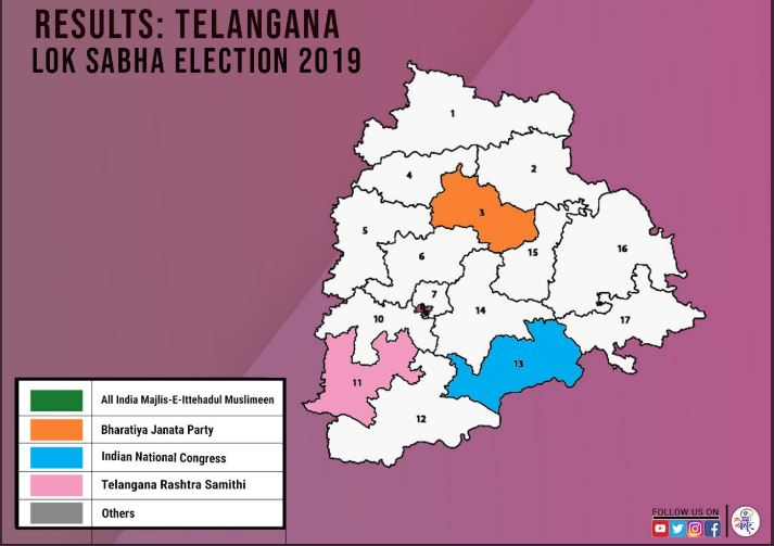 check here the andhra pradesh telangana lok sabha election result 2019 live updates 6 20 teleangana election results declared