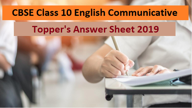 CBSE Class 10 English Communicative Topper Answer Sheet 2019