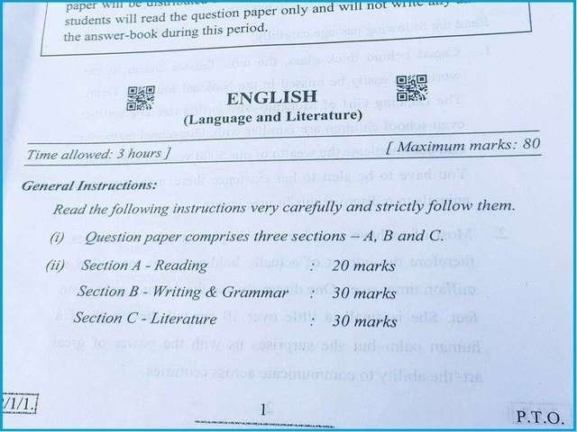 CBSE Class 10 English Question Paper 2020