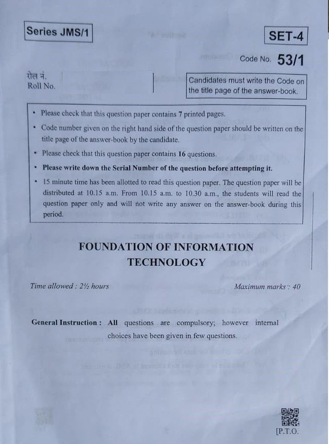 cbse foundation of it paper 2019