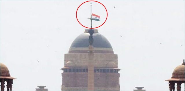 indian flag at half staff