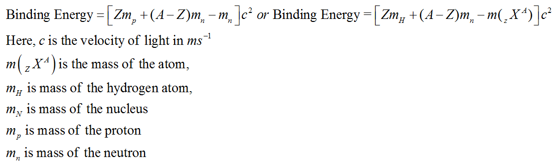 Formulas for Binding Energy