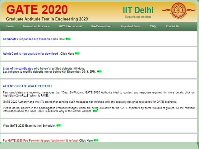 GATE 2020 Candidate Response Sheet Released