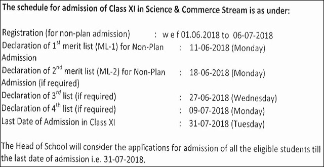 Delhi Government School Admissions 2018 Schedule