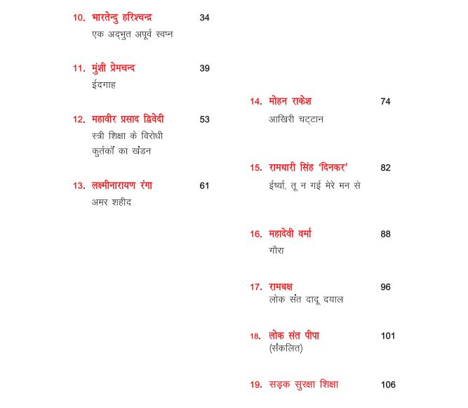 rajasthan board hindi book index
