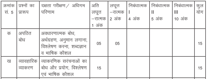 class 10 Hindi A question paper pattern