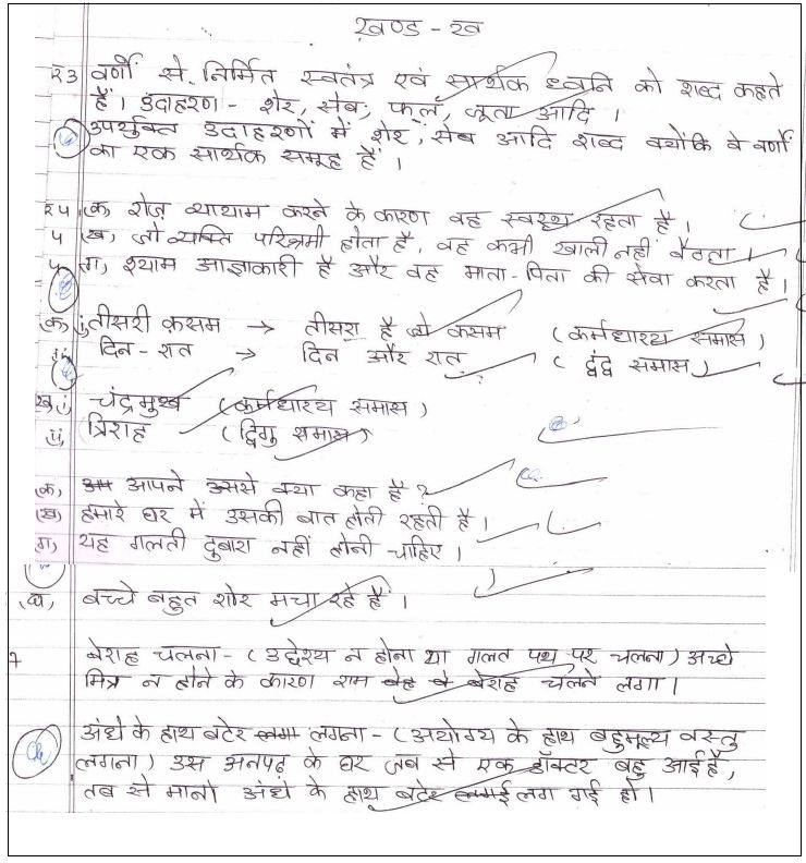 class 10 hindi b topper's answer sheet