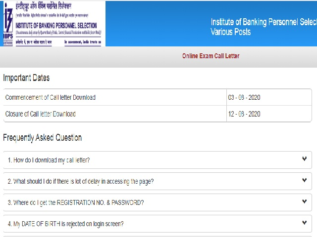 IBPS Admit Card 2020 for Various Faculty and Non-faculty Posts