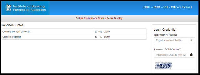 IBPS RRB Score Card 2019