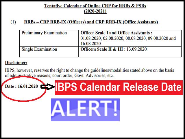 IBPS Calendar News