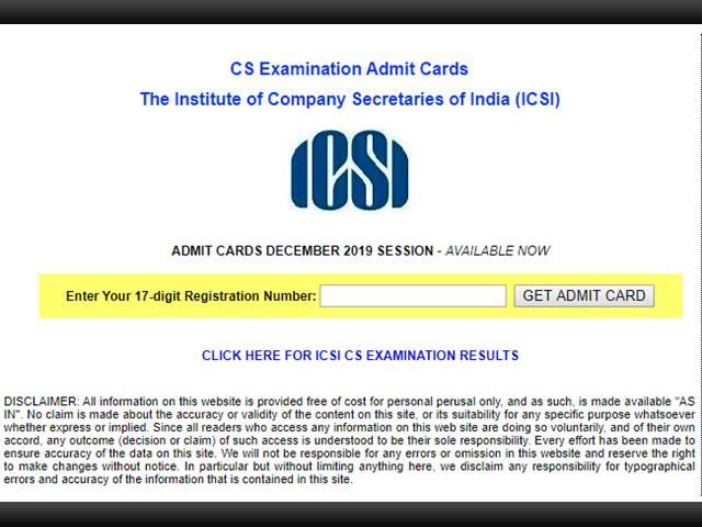 icsi admit card 2019 released for cs december exam