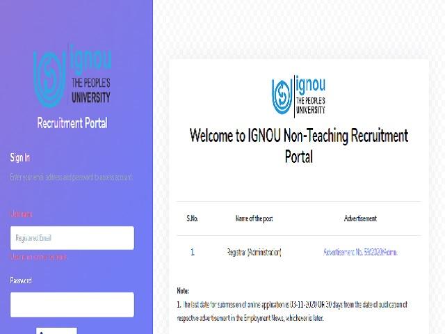 IGNOU Registrar Recruitment 2020