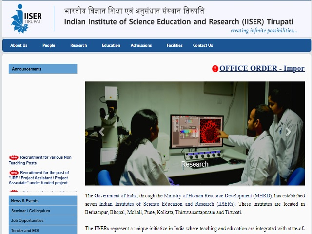IISER Junior Assistant & Other Posts Job 2018