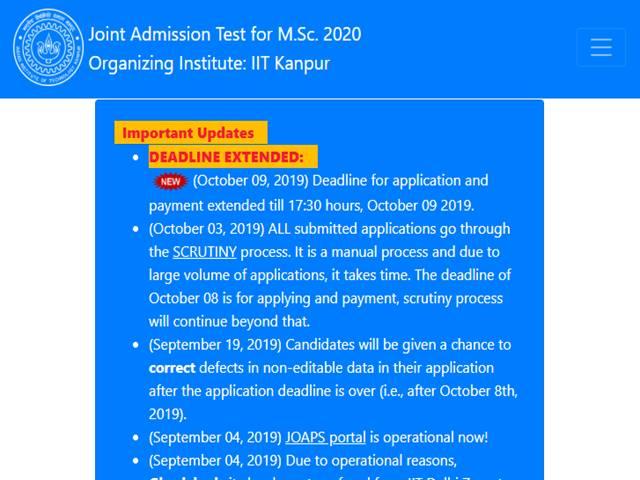 IIT JAM 2020 Application Deadline
