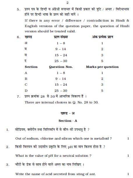 Rajasthan Board class 10 last five years science question papers