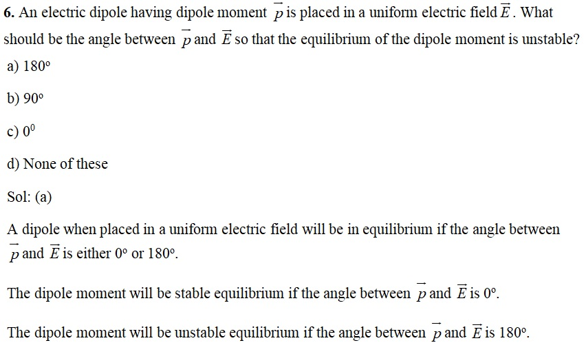 CBSE Board Exam 2020: Important MCQs (with Answers) for Class 12 Physics - Chapter 1 Electric Charges and Fields - Q6