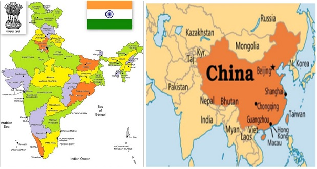india-and-china-map