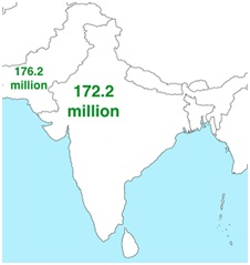 India and Pakistan Population