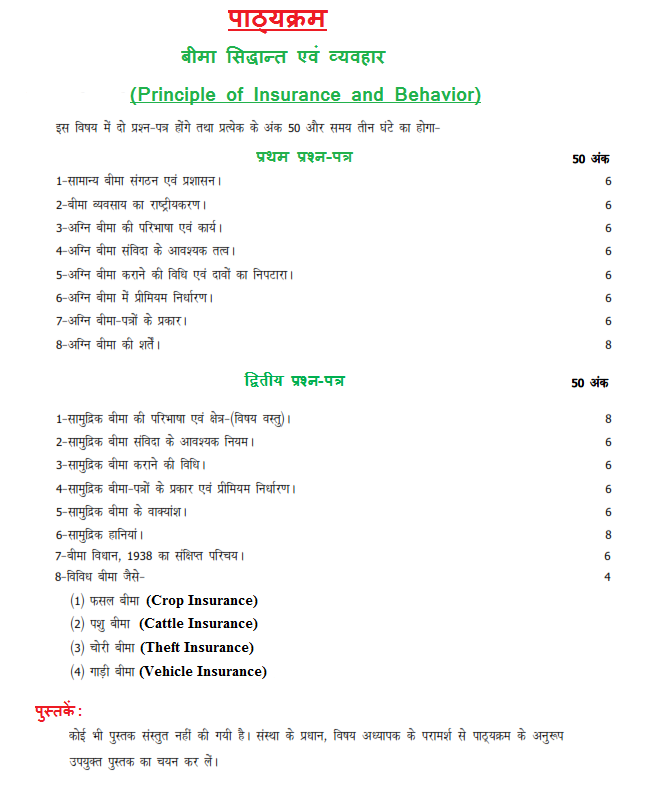 UP Board Class 12th Principle of Insurance and Behavior