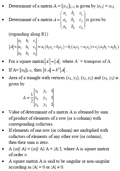 Important Concepts of Matrices and Determinants for UPSEE