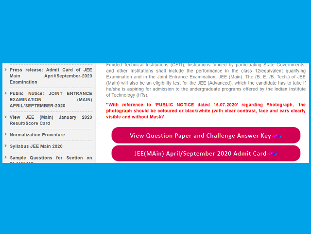 Jee Main 2020 Official Answer Key Released Jeemain Nta Nic In Check Now