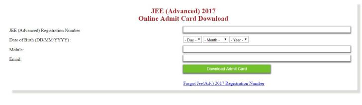 JEE Advanced 2017 Admit Card