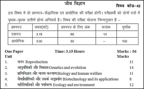 BSER Class 12 Biology Syllabus