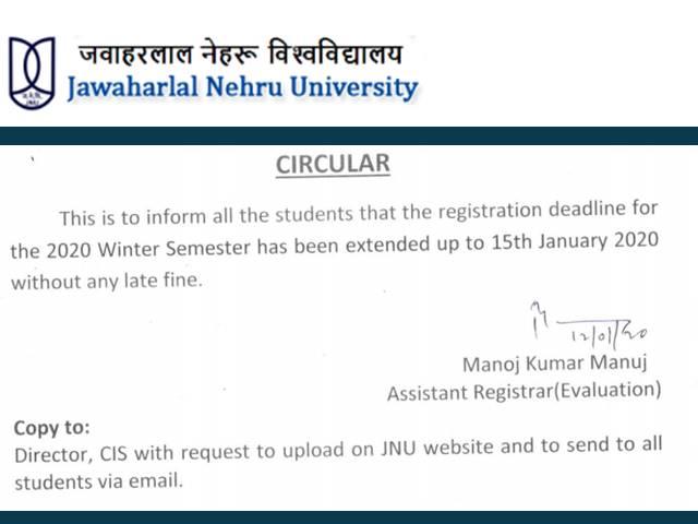 JNU Registration Date Extended