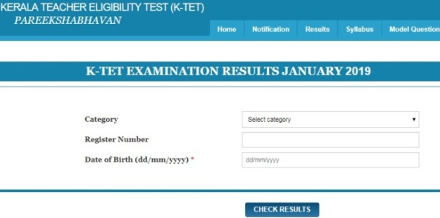 Check Kerala TET Result January 2019 exam at the official