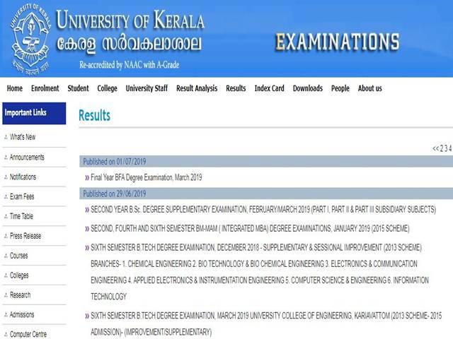 Kerala University Results 2019: Final Year BFA Result