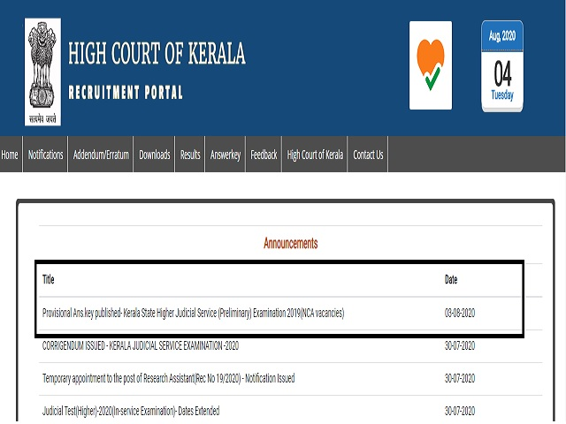 Kerala Judicial Serice Prelims Answer Key 2020