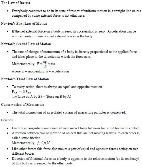 Laws Of Motion Study Notes And Important Questions For IIT