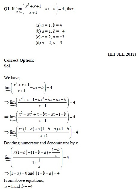 Study Notes and Important Questions of Limits for IIT JEE 2019