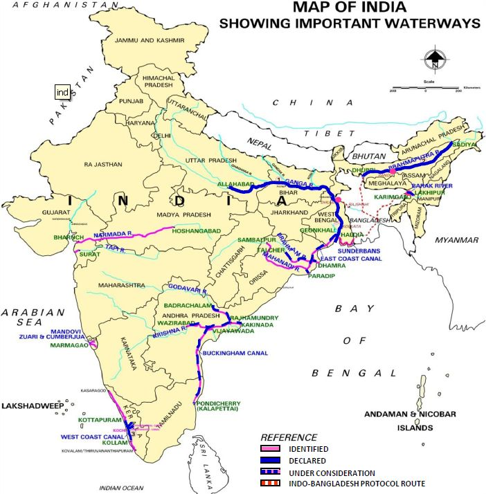 list national waterways india