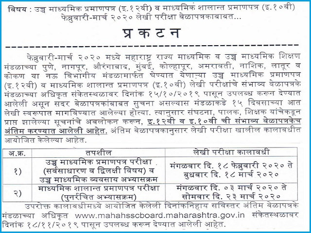 HSC/SSC Time Table 2020: Maharashtra Board Exams (Final)
