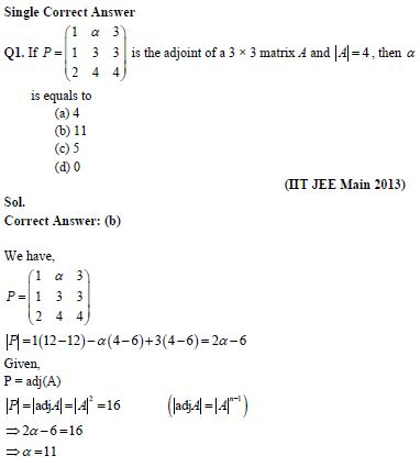 Matrices and Determinants – IIT JEE Important Questions