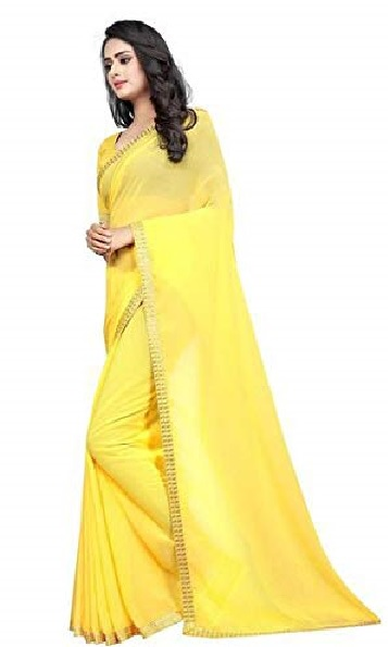 Mayura Paints Women Georgette Saree in Yellow Color