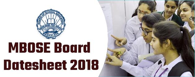 MBOSE Class 12th Exam Datesheet 2018 Declared