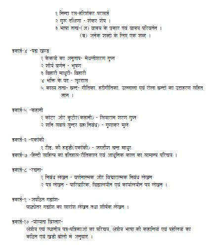 MP Board class 10th Hindi Syllabus 2019