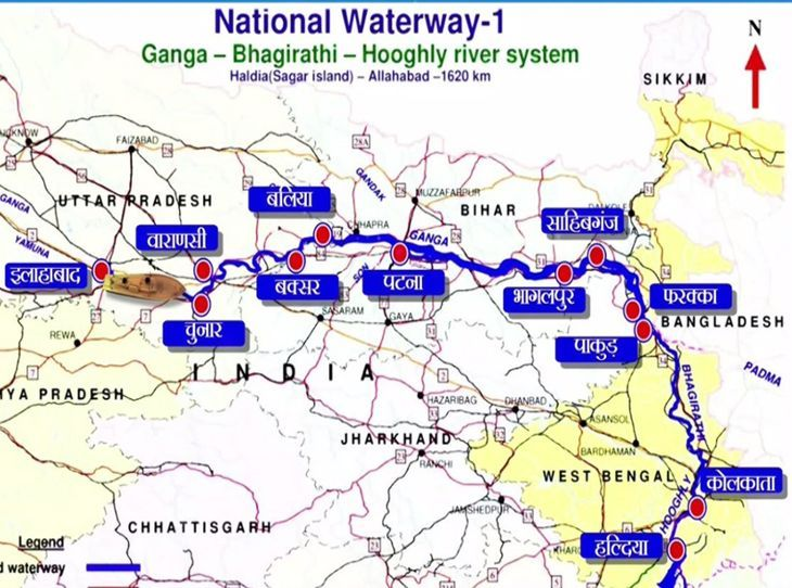 national waterway 1 india map