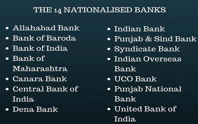 nationalised banks 1969