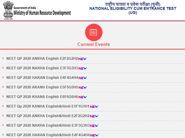 Neet 2020 Question Papers Released By Nta For All Codes Neet Result Likely Soon Ntaneet Nic In