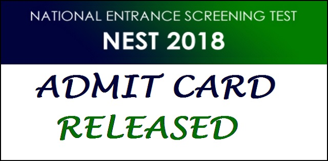 NEST 2018 admit card released