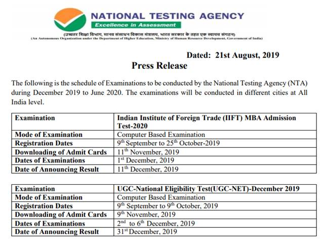 Nta Exam Schedule 2020 Released Know Exam Dates For Jee Main Neet Ug Cmat Ignou Jnu Ugc Net Aieee Exam